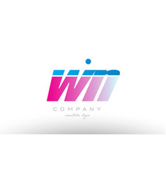 wn w n alphabet letter combination pink blue bold vector image vector image
