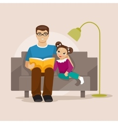 Father reading a book to her daughter vector image