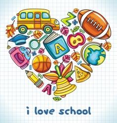 school heart vector image