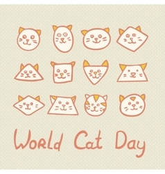World Cat Day Card with cat muzzles on textured vector image