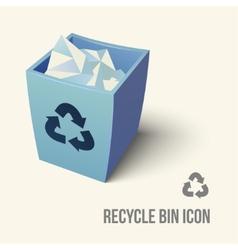 blue color recycle bin icon vector image vector image