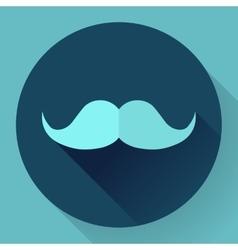 Facial hair mustache flat icon for apps and vector image