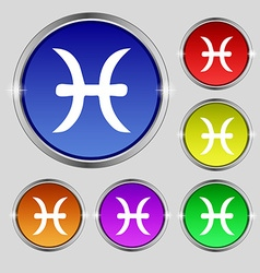 Pisces zodiac sign icon sign Round symbol on vector image