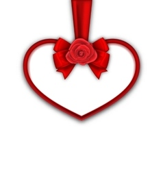 Red Heart with Red Rose Ribbon and Bow for Happy vector image vector image