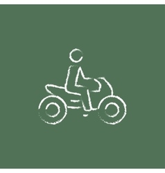 Rider on a motorcycle icon drawn in chalk vector image vector image