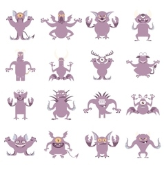 Set of flat moster icons4 vector image