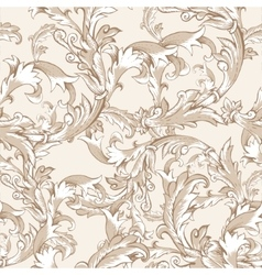 Vintage baroque seamless pattern with swirls vector image vector image