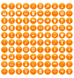 100 beer icons set orange vector