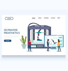 3d printer prosthetics website landing page vector
