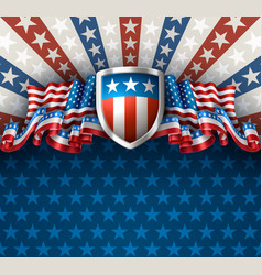 american background with shield vector image