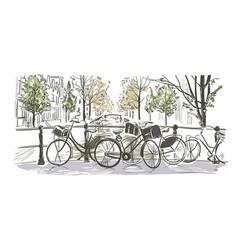 Amsterdam bicycles sketch watercolor sketch vector