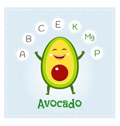 Avocado fruit vitamins and minerals funny fruit vector