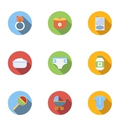 Baby supplies icons set flat style vector image