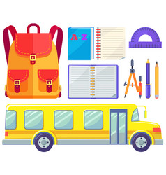 Back to school bus for kids pupil transportation vector