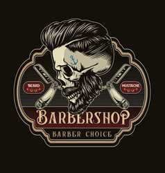 barbershop colorful retro label vector image