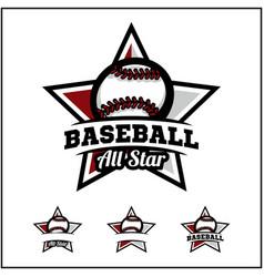baseball ball all star badge logo vector image