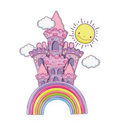 beautiful fairytale castle with rainbow vector image