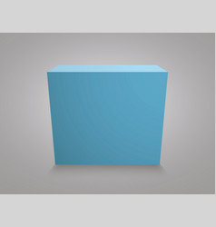 blank blue cube on grey background 3d box vector image