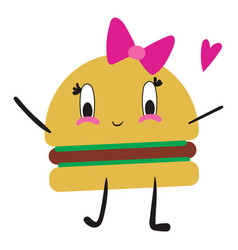 burger in love on white background vector image