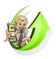 businessman dollars vector image
