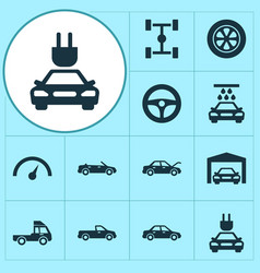Car icons set collection of van wheel repairing vector