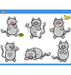 cartoon cat characters set vector image