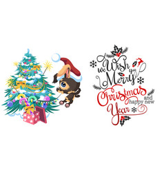 Cartoon cute happy dog decorating christmas tree vector
