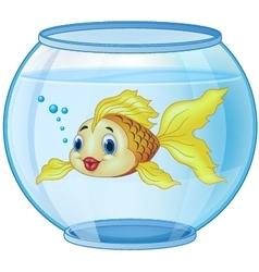 Cartoon golden fish in the aquarium vector