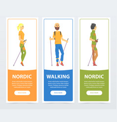 Cartoon vertical banners with young people nordic vector