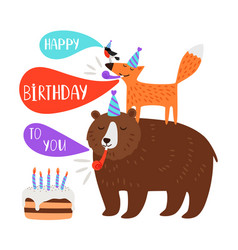Children birthday party card animals vector