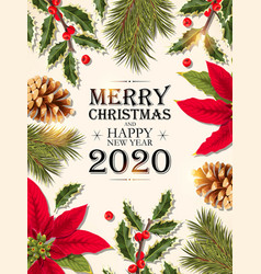 christmas design with green pine branch vector image