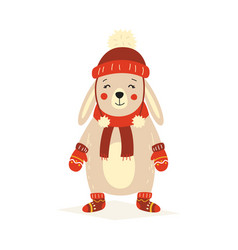 christmas fluffy white standing rabbit in a red vector image