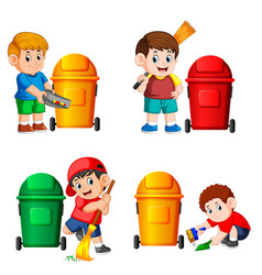 Collection of the boy with the trash bin vector