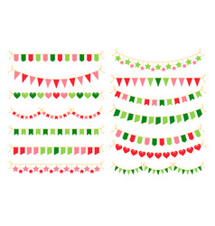 colorful garlands with flags carnival design vector image