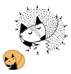 Connect dots and draw a cute sleeping fox vector