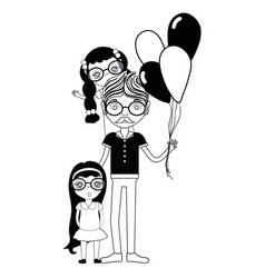 Contour father with his daughters and balloons vector