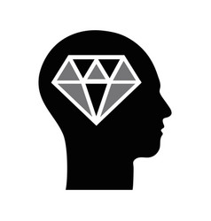 Contour silhouette head with diamond inside vector