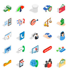 Cool idea icons set isometric style vector