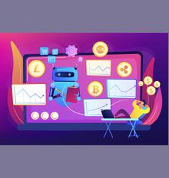 crypto trading bot concept vector image
