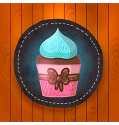 cupcake with chocolate and mint cream vector image