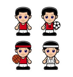 Cute boy sport character set vector