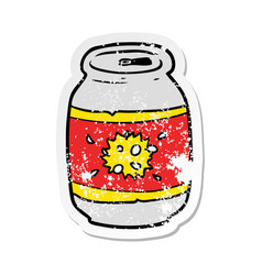 Distressed sticker of a cartoon soda can vector