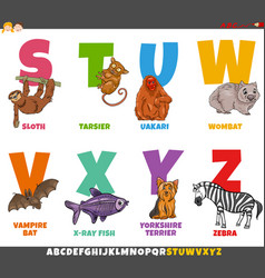 Educational cartoon alphabet set with animal vector