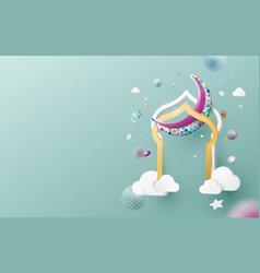 eid mubarak greeting card ramadan kareem vector image