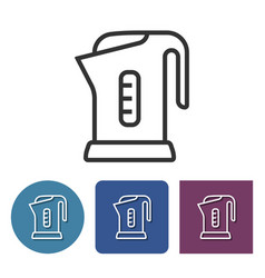 Electric kettle line icon in different variants vector