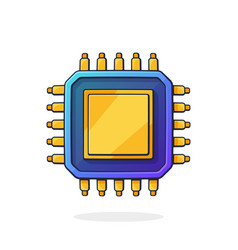 electronic integrated circuit top view vector image