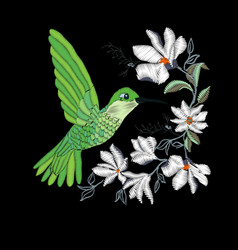 embroidery with hummingbird and orchid flowers vector image