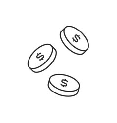 falling coins outline icon on white background vector image