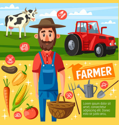 Farmer profession poster with farm harvest and cow vector