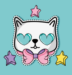 Fashion cute patch trendy decoration vector